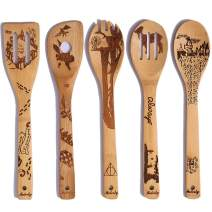 5 PCS Unique Pattern Burned Wooden Spoons Set - 2020 Best New Year Gifts Idea for Family - Non-stick Bamboo Utensil Set for Cooking(Magic spoons)