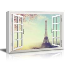 Window View Eiffel Tower in Paris with Cherry Blossom Gallery 16x24 inches