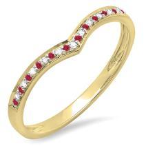 14K Gold Round Ruby & White Diamond Ladies Wedding Stackable Band