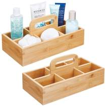 mDesign Bamboo Storage Organizer Tote with Built-in Handle, Divided Basket Bin, Wood Handle for Bathroom, Dorm Room, Holds Hand Soap, Body Wash, Shampoo, Conditioner, Lotion - 2 Pack - Natural/Tan