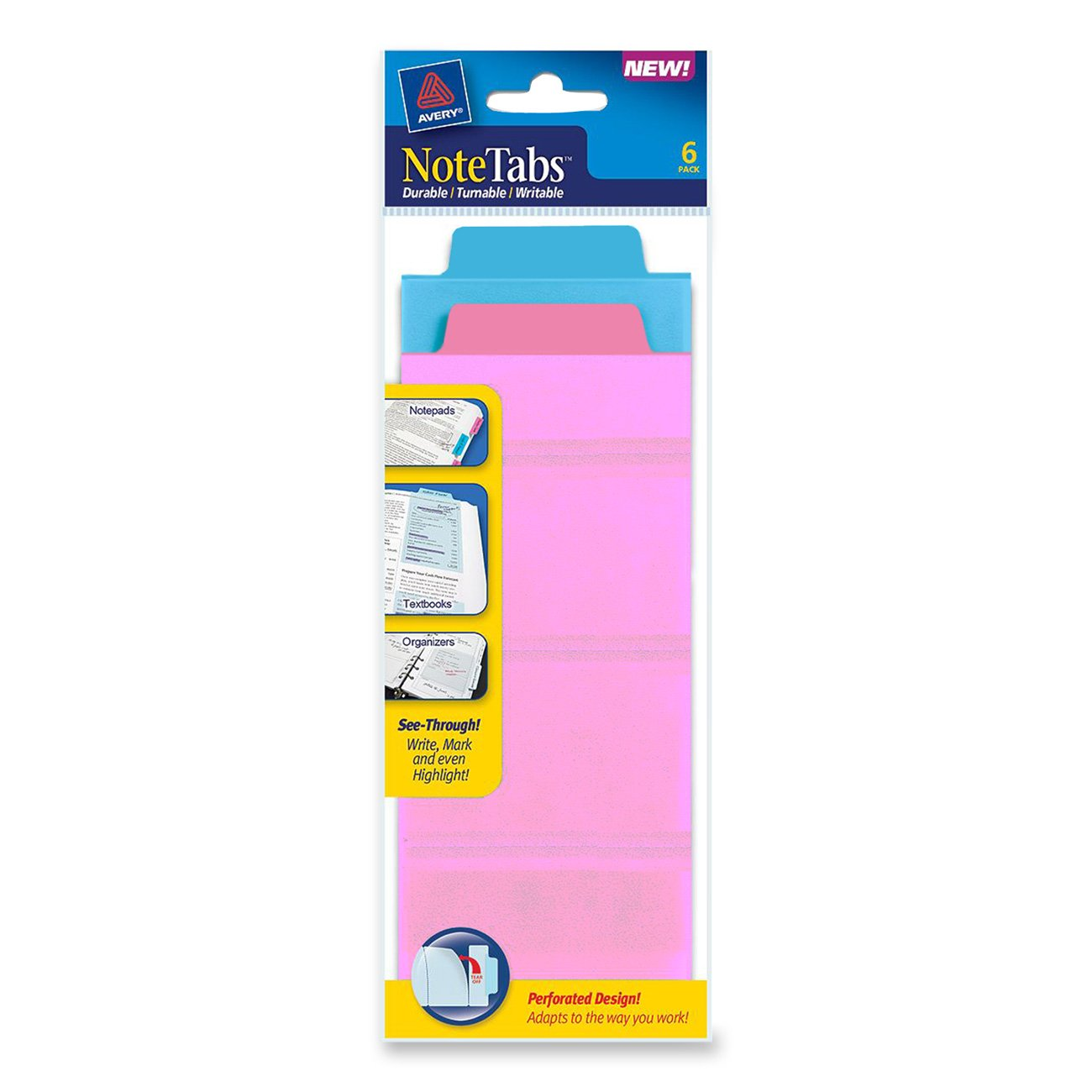 Avery NoteTabs, 3 x 7.5 Inches, Perforated, Neon Blue and Magenta, 12 per pack (16337)