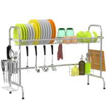 Cambond Over The Sink Dish Rack, Large Dish Drying Rack Stainless Steel Dish Drainer Shelf with Utensils Holder for Kitchen Counter