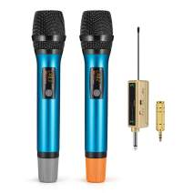 UHF Wireless Handheld Microphone System, Frunsi 100 Channel Portable Universal Cordless Mic Set with Rechargeable Receiver 6.35mm(1/4'') and 3.5mm(1/8'') Plug, 200 Ft for DJ, Church, Karaoke, Wedding