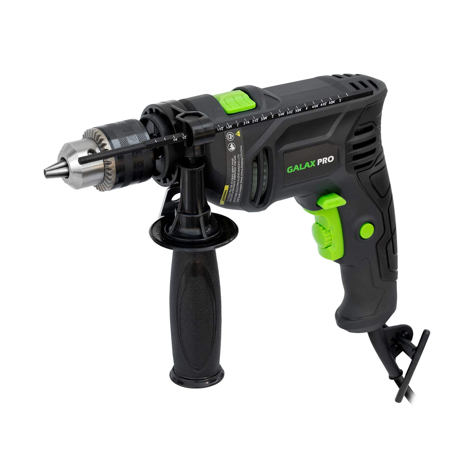 GALAX PRO Hammer Drill, 5Amp Electic Corded Drill, 1/2'' Metal Chuck, 0-3000RPM, Powerful Variable Speed Drill for Drilling in Steel, Concrete, and Steel