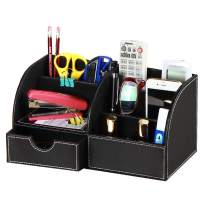 Leather Desk Accessories Organizer Caddy 6 Departments Pen Holder Desktop Supply Storage Box with Drawer for Stationery/Pencils/Trinkets/Collections/Phones/Remote Controllers (Black)