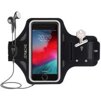 iPhone 7/8 Plus Armband, JEMACHE Thin Water Resistant Gym Running Workouts Arm Band for iPhone 6/6S/7/8 Plus with Key Holder (Black)