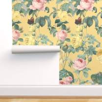 Spoonflower Pre-Pasted Removable Wallpaper, Floral Flower Garden Nature English Cottage Yellow Chic Butterfly Print, Water-Activated Wallpaper, 24in x 108in Roll