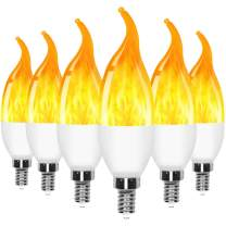 6 Pack E12 LED Flame Effect Candelabra Light Bulbs,3 Mode Flickering Wall Lamp Chandelier Flame Effect Bulb, for Christmas Party Decorations Bar Garage Flame Lights