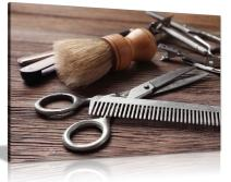 Barber Shop Decor Haircutting Tool Canvas Wall Art Picture Print (36x24)