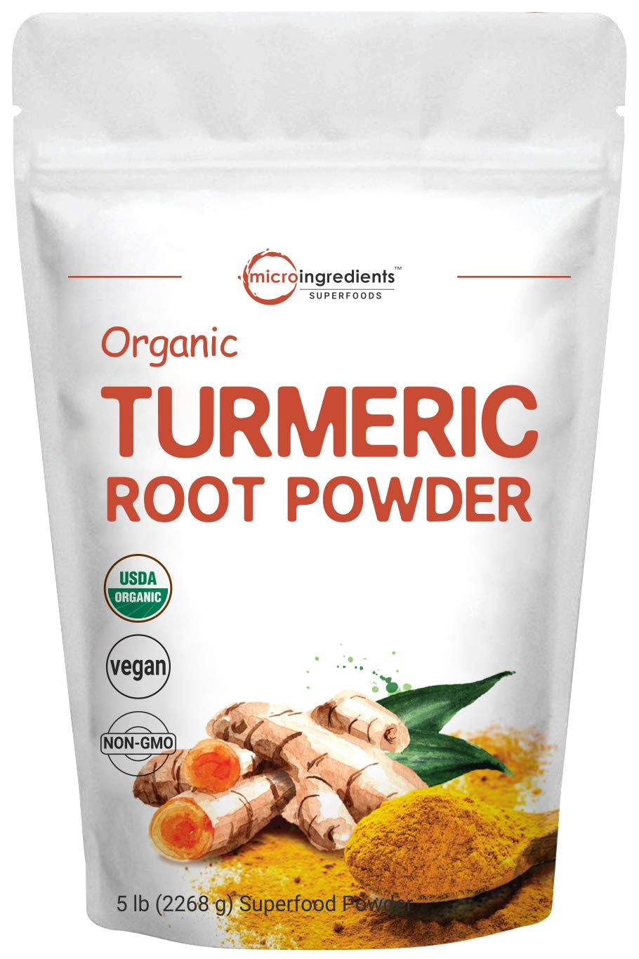 Organic Turmeric Root Powder, 5 Pounds (80 Ounce), Pure Turmeric Supplement, Contains Active Curcumin and Immune Vitamin C for Joint Pain Relief, Bone Health and Boosts Immune System, Vegan Friendly