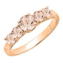 Dazzlingrock Collection 14K Round 3.8 MM Each Gemstone Ladies 5 Stone Anniversary Wedding Ring Band, Rose Gold