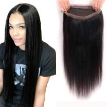 8A Grade 360 Lace Frontal Brazilian Straight Pre Plucked 360 Frontal Closure with Baby Hair 100% Unprocessed Remy Human Hair Frontal Nature Color(16Inch, 360 frontal)