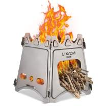 Lixada Camping Stove Portable Folding Stainless Steel Stove Wood Burning Stove Lightweight,Compact,Durable for Outdoor Backpacking Hiking Traveling Picnic BBQ