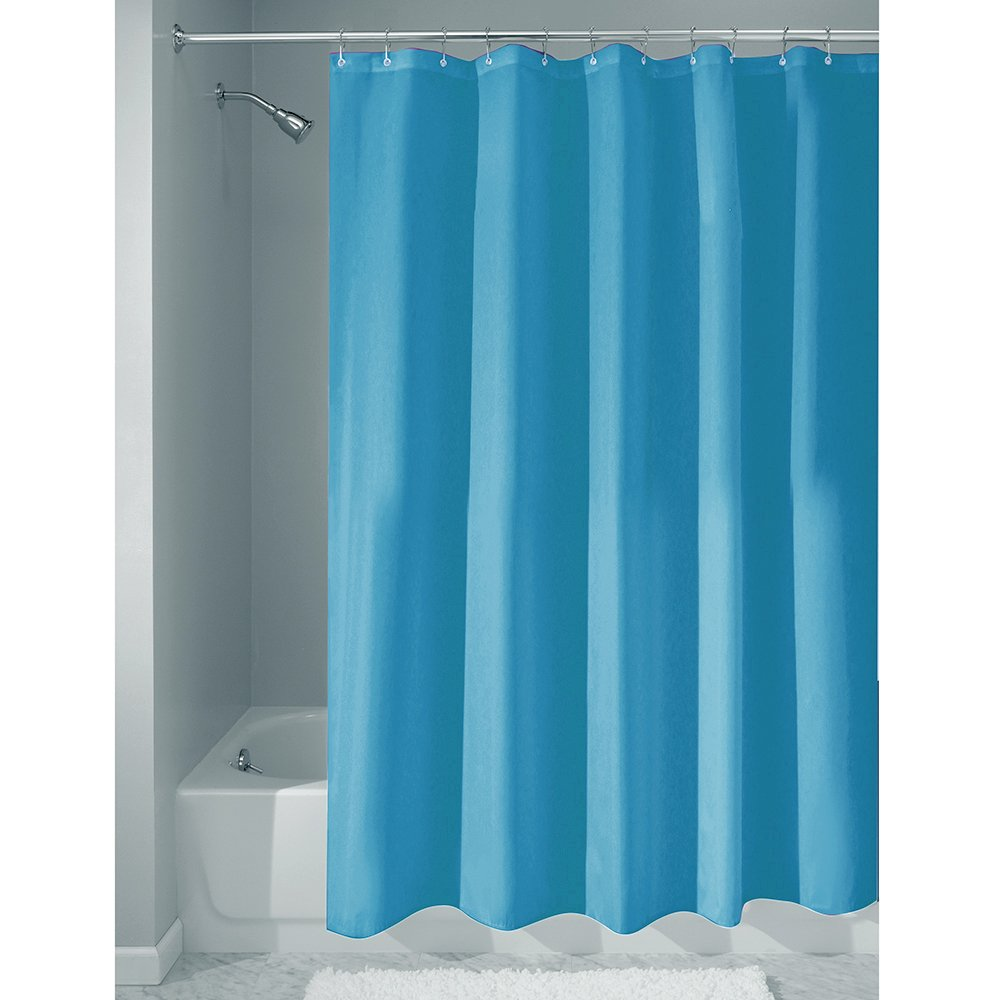 """iDesign Fabric Shower Curtain, Water-Repellent and Mold- and Mildew-Resistant Liner for Master, Guest, Kid's, College Dorm Bathroom, 72"""" x 72"""" - Azure Blue"""