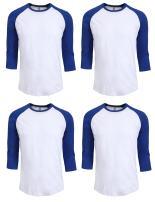 J. LOVNY 4 Pack 3/4 Sleeve Crew Neck Raglan Tee Shirts S to 3XL Baseball Cotton Crew Neck Raglan Tee Shirts S to 3XL