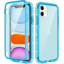 Caka Glitter Clear Case for iPhone 11 Case Full Body Protective Case with Built in Screen Protector Shiny Sparkle Rhinestone Diamond Girls Girly Women Transparent Soft Case for iPhone 11 6.1 (Teal)
