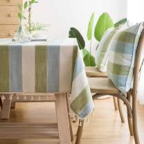 LINENLUX Striped Cotton Linen Tablecloth/Table Cover with Tassel Blue Green Square/Round 55 X 55 in