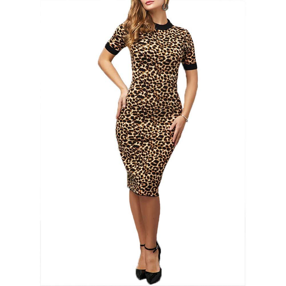 ThusFar Women's Leopard Bodycon Dress - Short Sleeve Slim Party Clubwear Pencil Dress