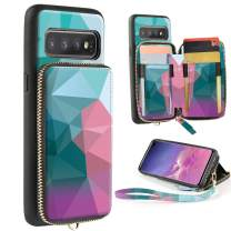 Samsung Galaxy S10 Plus Case, ZVE Galaxy S10+ Wallet Case with Credit Card Holder Leather Zipper Wallet Case Handbag Purse Print Case Cover for Samsung Galaxy S10 Plus (2019), 6.4 inch - Diamond