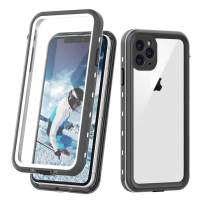"""iPhone 11 Pro Max Clear Waterproof Case, Full Body Heavy Duty Dustproof Shockproof Case with Built-in Screen Protector for iPhone 11 Pro Max (6.5"""",2019) (White&Clear)"""