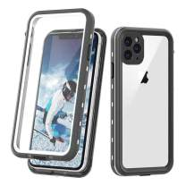 "iPhone 11 Pro Max Clear Waterproof Case, Full Body Heavy Duty Dustproof Shockproof Case with Built-in Screen Protector for iPhone 11 Pro Max (6.5"",2019) (White&Clear)"