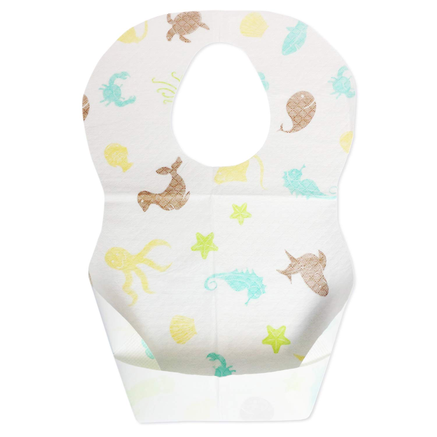 Emmzoe Baby and Infant Disposable Travel Bibs - Soft, Leakproof, Unisex, One Size Fits All - for Feeding, Traveling, On The Go - Sea Life (50 Pack)