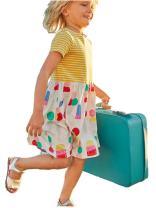 HILEELANG Girl's Cotton Short Sleeve Cute Cartoon Dress Children Printed Casual Dress