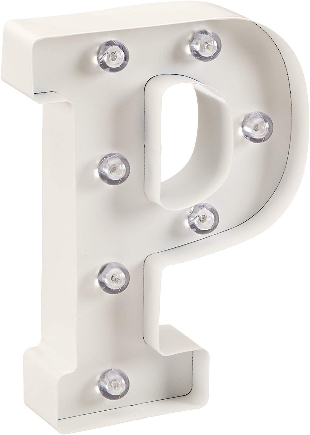 """Darice White Metal Marquee Letter – P - 9.87"""" Tall, White Finish"""