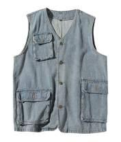 SCOFEEL Men's Denim Vest Button Down Jean Vests Trucker Jacket Plus Size