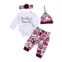 4Pcs Baby Girls Clothes Set Daddy's Girl Romper Tops+Floral Pants+Hat+Flower Headband