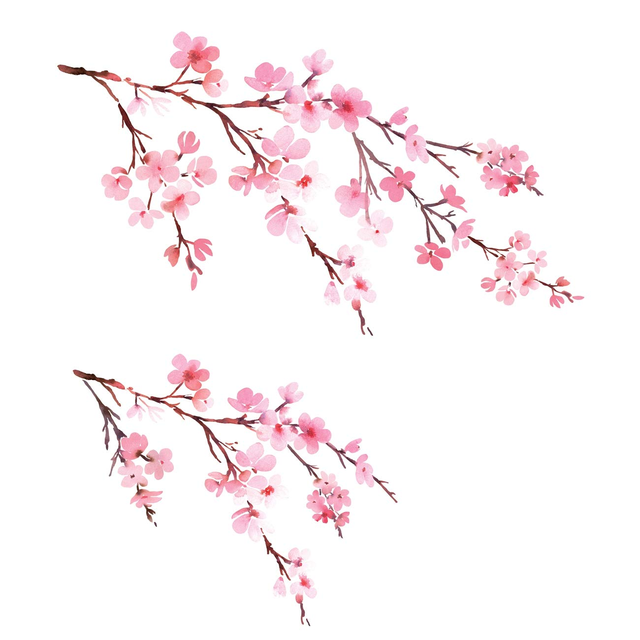 DECOWALL DWL-1903 Watercolor Cherry Blossoms Kids Wall Stickers Wall Decals Peel and Stick Removable Wall Stickers for Kids Nursery Bedroom Living Room