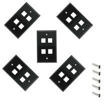 iMBAPrice 4 Port Keystone Jack Wall Plate 1-Gang - Black (Pack of 5)