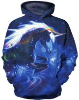 DUOLIFU Boy Girl Cute 3D Paint Unicorn Print Sweatshirts Pocket Pullover Hoodies,Starry Sky7-8T