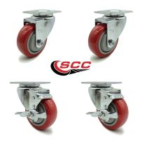 """Service Caster - 3.5"""" x 1.25"""" Red Polyurethane Wheels Caster Non-Marking Set of 4-2 Swivel Casters w/Brakes/2 Swivel"""