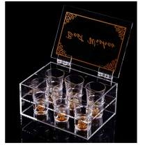 24K Gold Shot Glasses (6 Pcs) 1.5Oz , With Arcylic Gift Box.Gold Rimmed Shot Glass Set