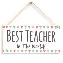 """Meijiafei Best Teacher in The World! - Super Cute Little Teacher Gift Sign 10""""x5"""""""