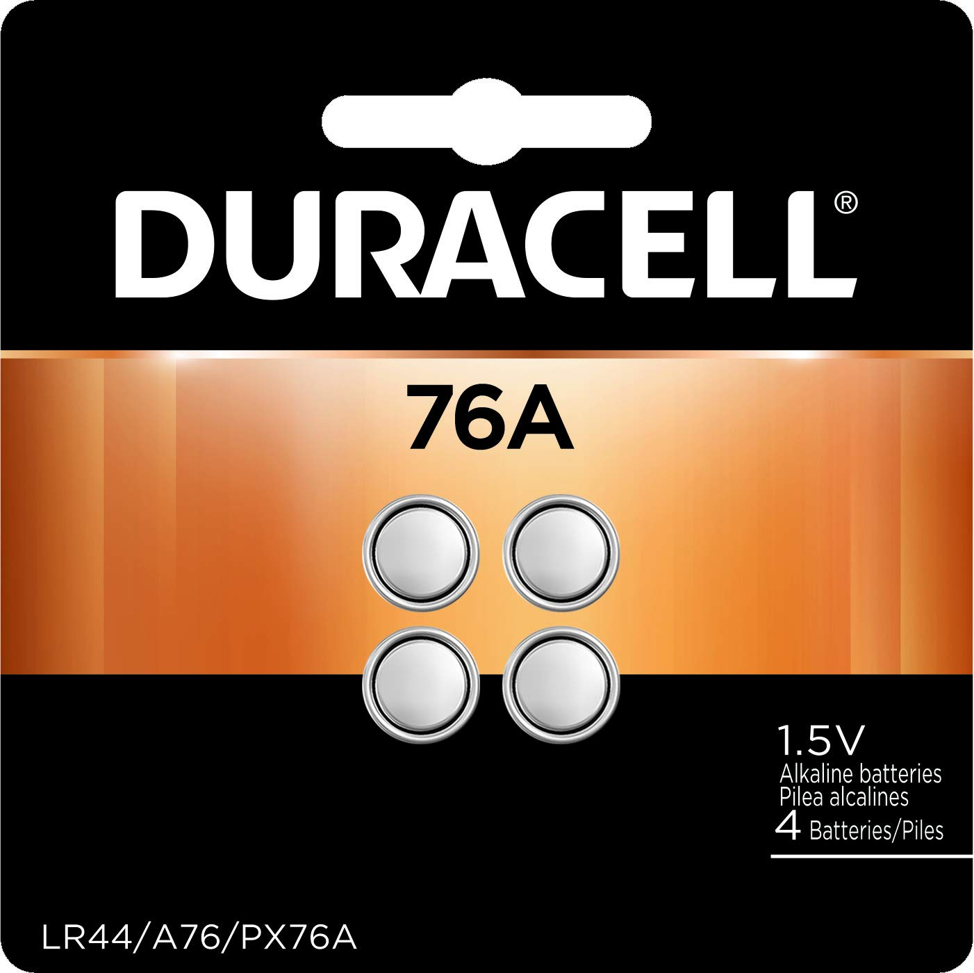 Duracell – 76A/LR44 Silver Oxide Button Batteries – Long Lasting 1.5V Battery – 4 Count