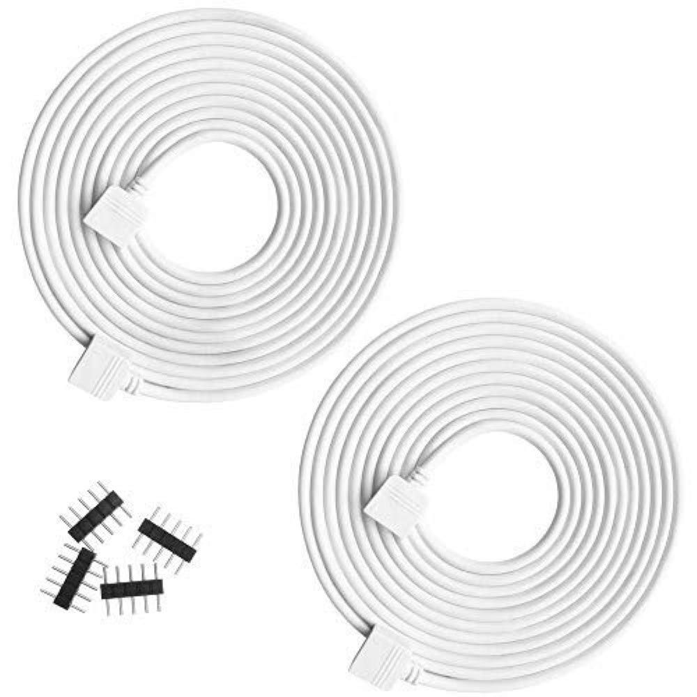 RGBZONE 2 Pack 5M 16.4ft 5pin Extension Cable Connect Female Plug to SMD 5050 RGBW LED Strip Light with Free 4pcs 5pin Connector