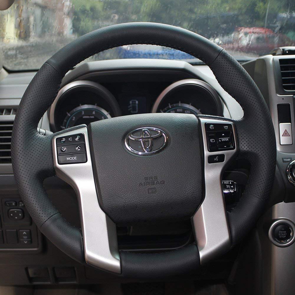 LSAUTO Steering Wheel Cover Black Color Nappa Genuine Leather Stitch On Wrap for Toyota Prado/Tacoma/Tundra / 4Runner /Sequoia Automotive Interior Accessories…