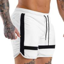 EVERWORTH Men's Gym Quick Dry Workout Shorts Fitted Bodybuilding Short Breathable Training Running Shorts with Zipper Pockets