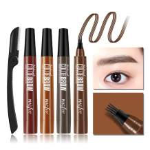 Microblading Eyebrow Tattoo Pen with 1 Eyebrow Razor, Waterproof Fork Tip Eye Brow Pencil Marker, Liquid Applicator for Eyebrows, Creates Natural Looking Brows and Stays on All Day(04# Brown)