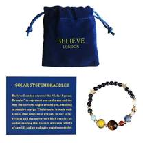 Believe London Solar System Bracelet with Jewelry Bag & Meaning Card | Adjustable Bracelet to Fit Any Wrist | 9 Planets Galaxy Universe Guardian