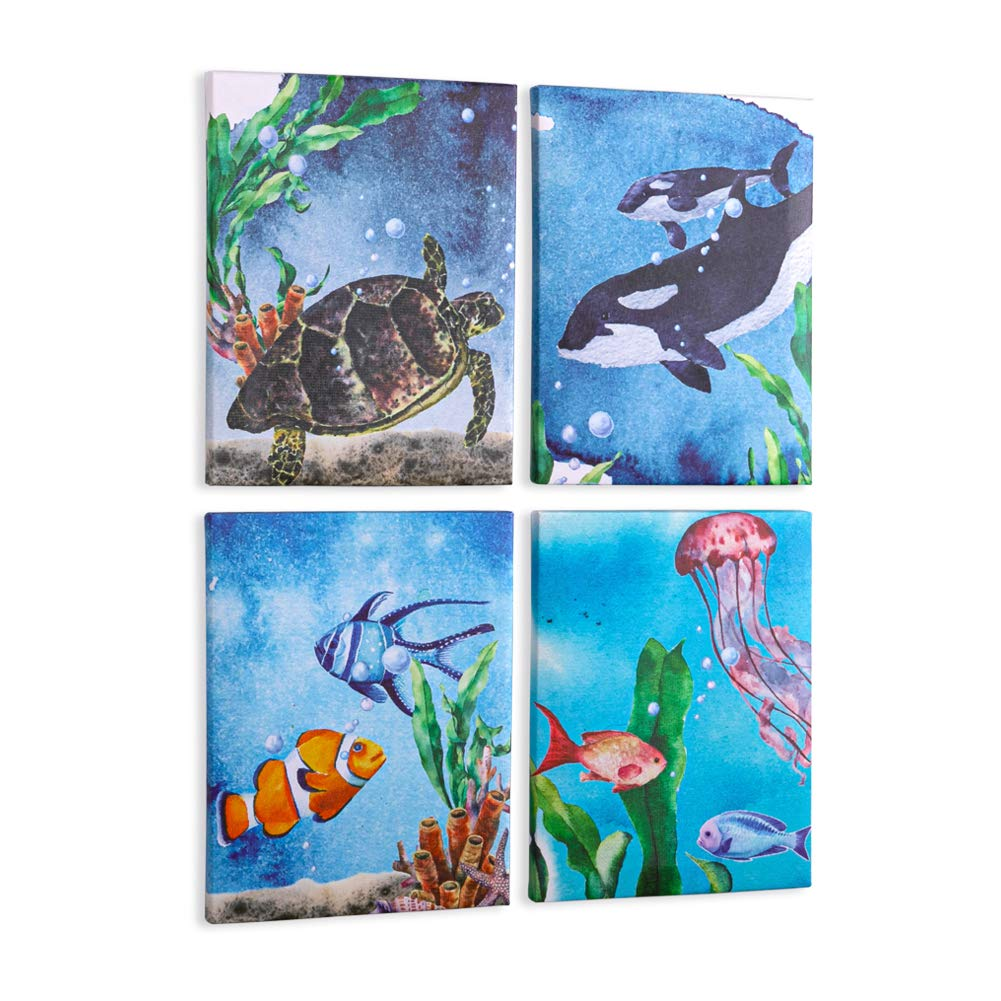 MHJY Canvas Prints Wall Art Decor Canvas Painting Artwork Framed Marine Animal Canvas Picture for Baby Nursery Room,Kids Bedroom,Living Room,Bathroom Wall Decoration,8x10inch,Set of 4