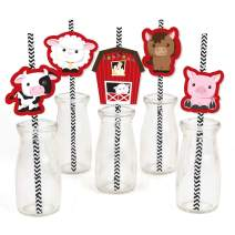 Farm Animals Paper Straw Decor - Baby Shower or Birthday Party Striped Decorative Straws - Set of 24