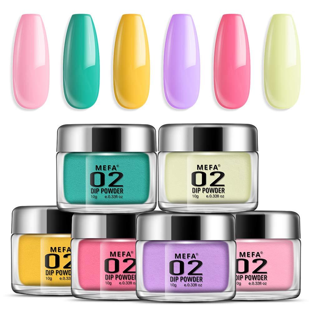 Dipping Nail Powder Colors Set - 6 Dip Powders Colors Candy Summer Colors Nails Set,No UV/LED Nail Lamp Needed, Acrylic Dipping Powder Nail Refill Set for French Nail Manicure Nail Art