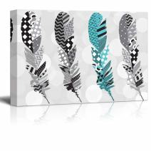 wall26 - Teal Zentangle Feather with Gray Zentangle Feathers on a Silver Colored Bokeh Background - Canvas Art Home Decor - 24x36 inches