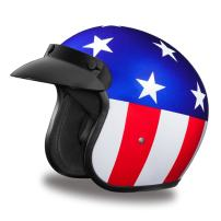 Daytona Helmets Motorcycle Open Face Helmet Cruiser- Captain America 100% DOT Approved