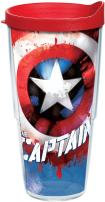 Tervis 1250041 Marvel - Captain America Tumbler with Wrap and Red Lid 24oz, Clear