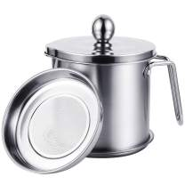 Uarter Oil Strainer Pot Grease Can, 1.5 Quart Stainless Steel Oil Storage Can Container with Fine Mesh Strainer, Suitable for Storing Frying Oil and Cooking Grease, Sliver (Sliver-L)