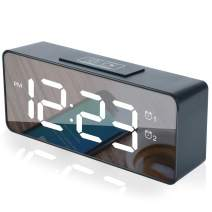 Aomago Led Digital Alarm Clock - Battery Operated Desk Clock USB Charging for Bedrooms with Battery Backup,Adjustable Volume, Dual Alarm, Smart Brightness Dimmer for Kids, Heavy Sleepers, Seniors.